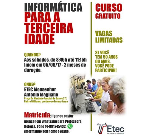 Informática para a terceira idade – Etec Monsenhor Antônio